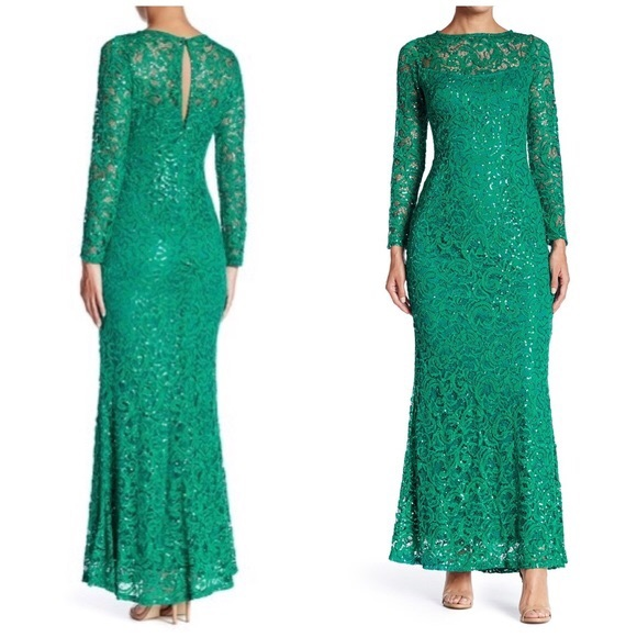 MARINA Dresses & Skirts - Marina Emerald a Green Sequin Lace Illusion Gown